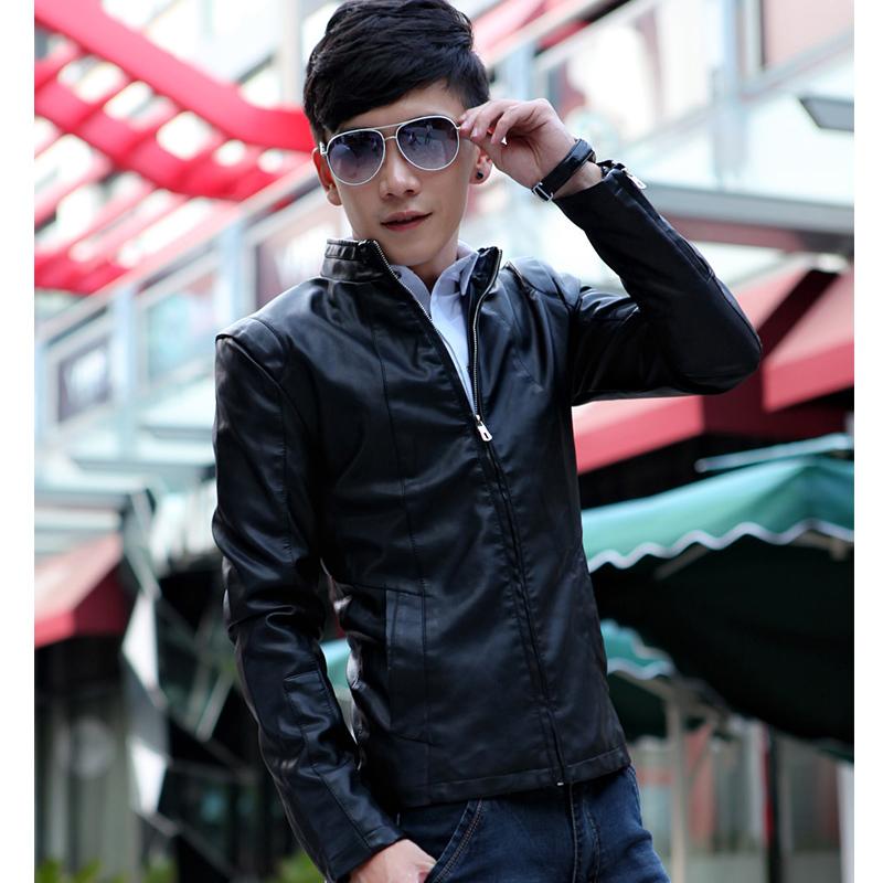 Одежда из кожи Весна 2014, молодые люди кожа краюха мужчин корейской версии самостоятельной ошейник кожа паровоз доказательство Куртка мужская куртка