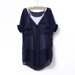 Spring/summer 2012 new pure color chiffon round neck bat sleeve chiffon shirt + vest at  end of set of 2 WC1106