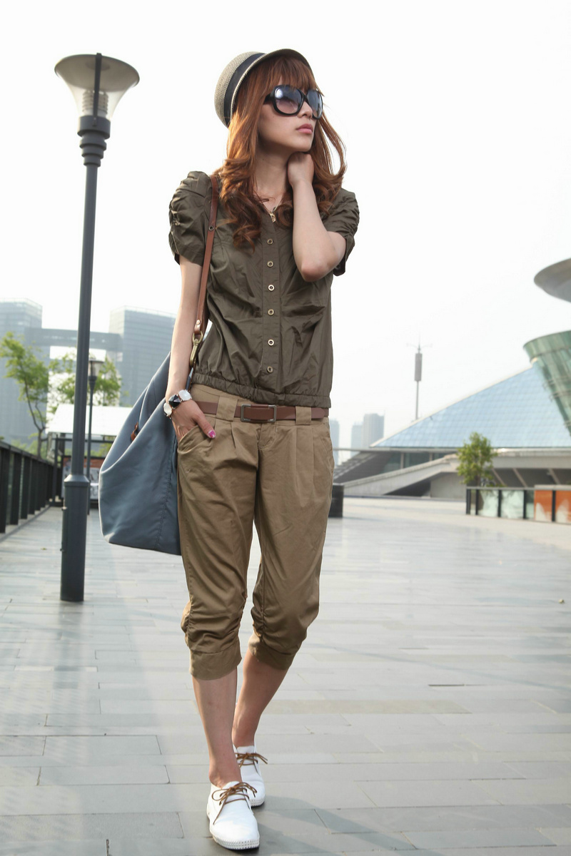womens dark khaki pants - Pi Pants
