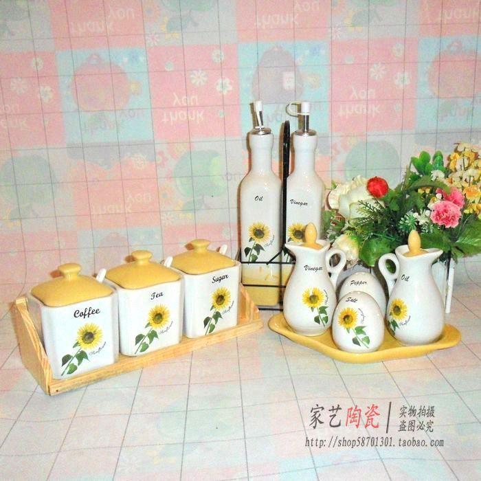 陶瓷调味罐12件套装 欧式外贸调味油瓶调料罐/盒创意宜家厨房用品