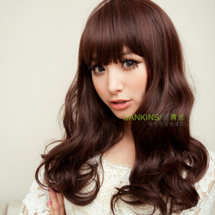 [New] black hair wig long fluffy Qi Liuhai wig girls flower head wigs women's