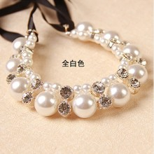 South Korea fashion necklace restoring ancient ways Female clavicle short chain Pearl diamond sweater necklace off the collar bag mail