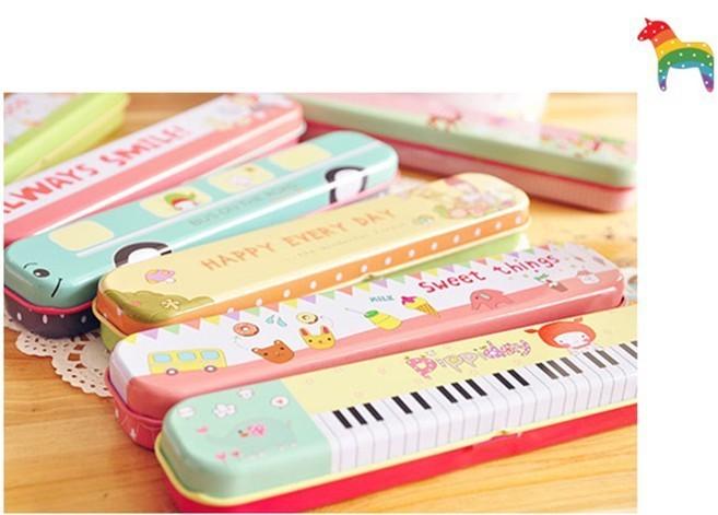 韩国文具 可爱长条型卡通文具盒(10款) 小型文具盒,铁盒收纳盒