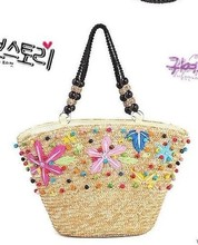 2014 three bag mail selling order bead embroidery one shoulder bag VIVI colorful wooden bead straw bag schemes to Hawaii