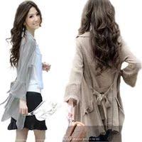 2016新款秋装 韩版显瘦针织衫 中长款修身针织开衫 薄外套女秋季