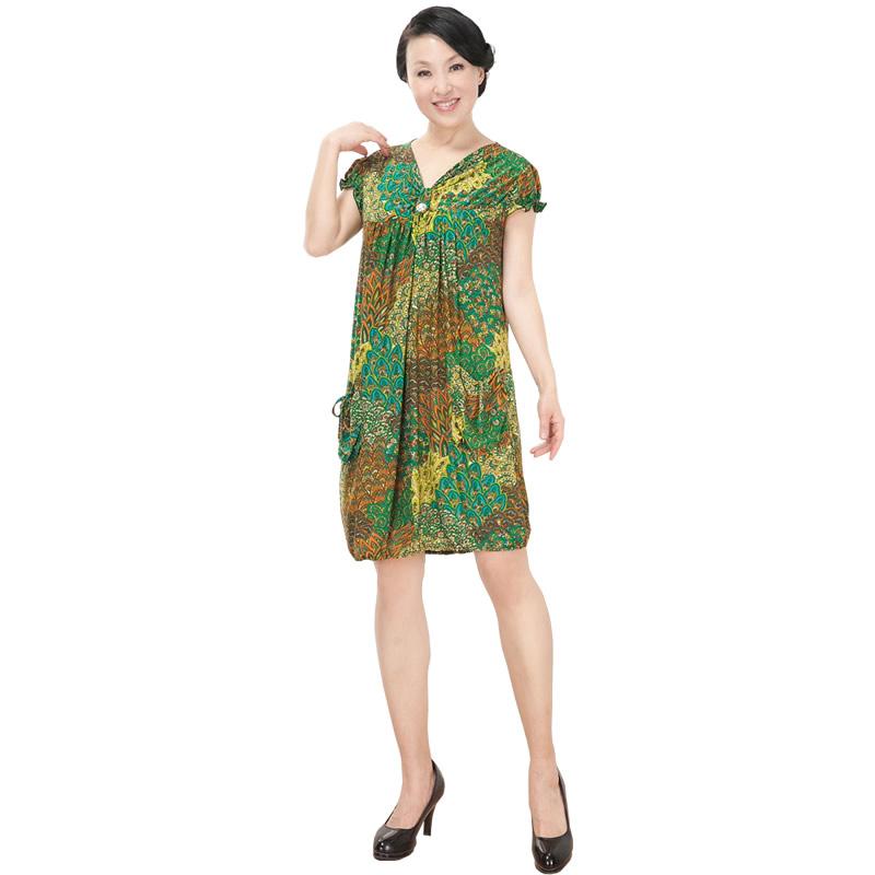 中老年服装夏装加肥加大连衣裙大肥裙子福态妈妈装居家休闲睡裙