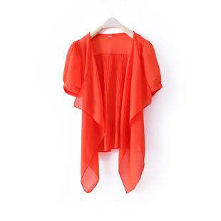 2012 Summer new Korean design pure color irregular stitching pleated chiffon COPINE hundred  conditioning shirt WW2518