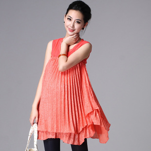 Savvy Mommy 2012 fashion maternity dresses summer orange dress pregnant big belly pregnant women Po early pregnancy of 213