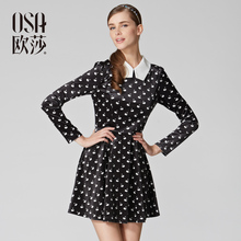 OSA Ou Sha Spring 2014 New Model Into a Pencil Skirt OL Ladies ' Long Sleeve Printed Dress SL410240