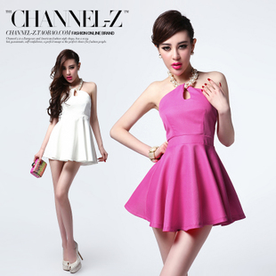 Channel-z small posture spring new Europe and elegant Pearl hanging neck high waist Halter swing dress dresses