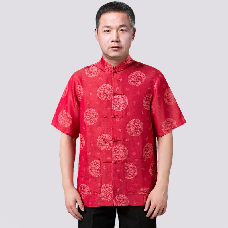 2014新款唐裝男士夏季 棉中老年男裝短袖民族服飾爸爸圖片