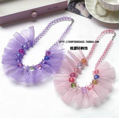 Baby necklace jewelry necklace Korean girls accessories semi snow yarn lace colorful crystal beads necklace Children