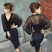 复古新品春装欧美2014新款蝙蝠袖雪纺衫针织性感夜店修身透视V领