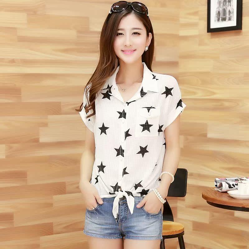 Блузка Лето 2014 Новый корейский женский Джокер плюс размер короткий рукав рубашки шифон тонкий рубашки и пиджак тонкий рубашки