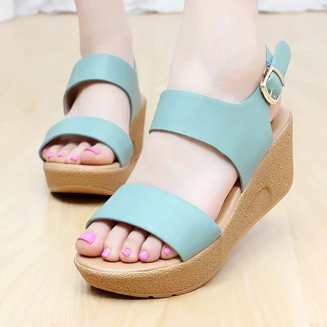 Korean version of the 2014 summer new Taichung waterproof shoes with non-slip heavy-bottomed muffin slope with high-heeled sandals students