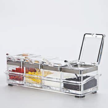 亚克力玻璃厨房用品家用调味盒调味罐套装调味瓶调料罐调料盒图片