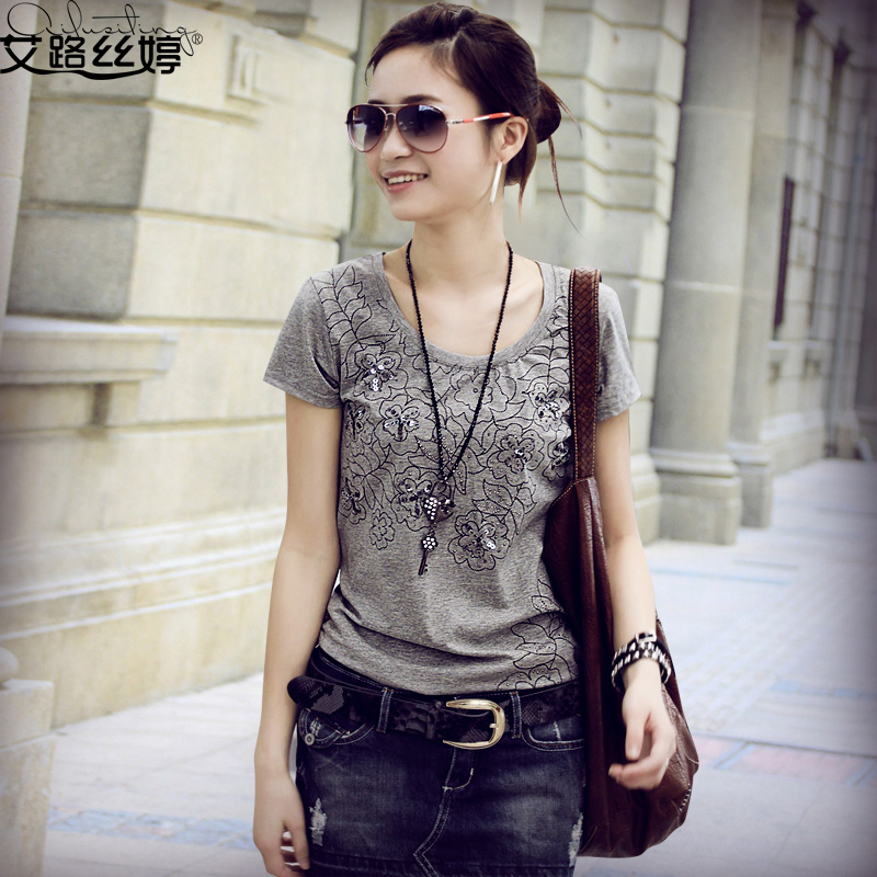 Ai Lusi Ting 2013 summer dress new Korean fashion ladies ' slim fit skinny shirt plus size short sleeve t shirts women 316