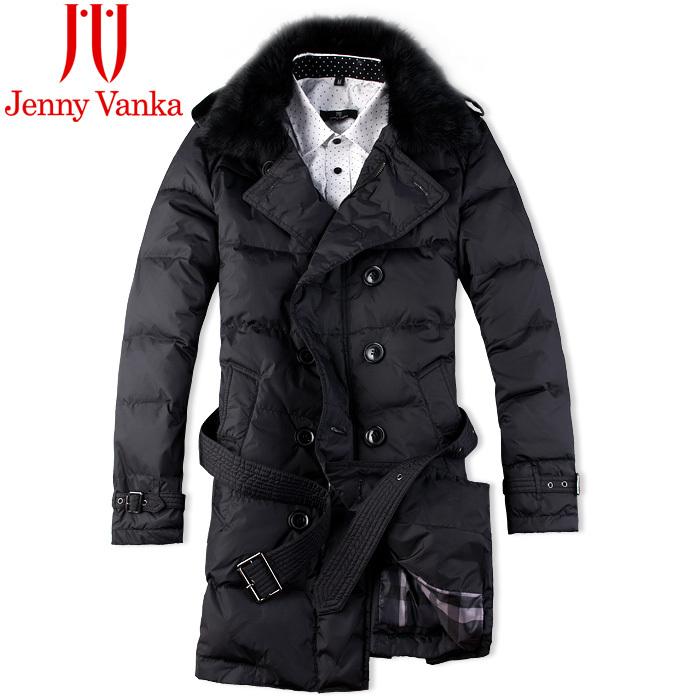 Пуховик мужской Jenny Vanka jw10071 2013 80 серый утиный пух Длинная модель (длина одежды ниже середины бедра) Отложной воротник Утеплённая модель % Однотонный цвет
