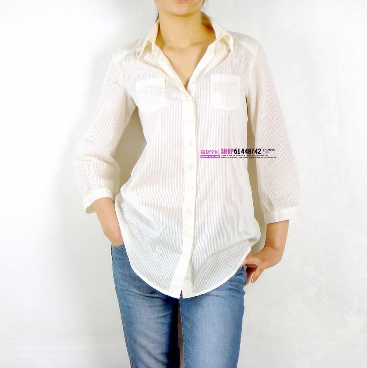 женская рубашка U.S. brand g ** bn019 BANANA REPUBLIC Городской стиль Длинный рукав В клетку Квадратный воротник Один ряд пуговиц