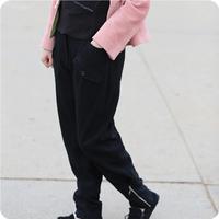 【有一首歌】黑色长款羊毛女裤萝卜式休闲瘦身型<原创民族设计>