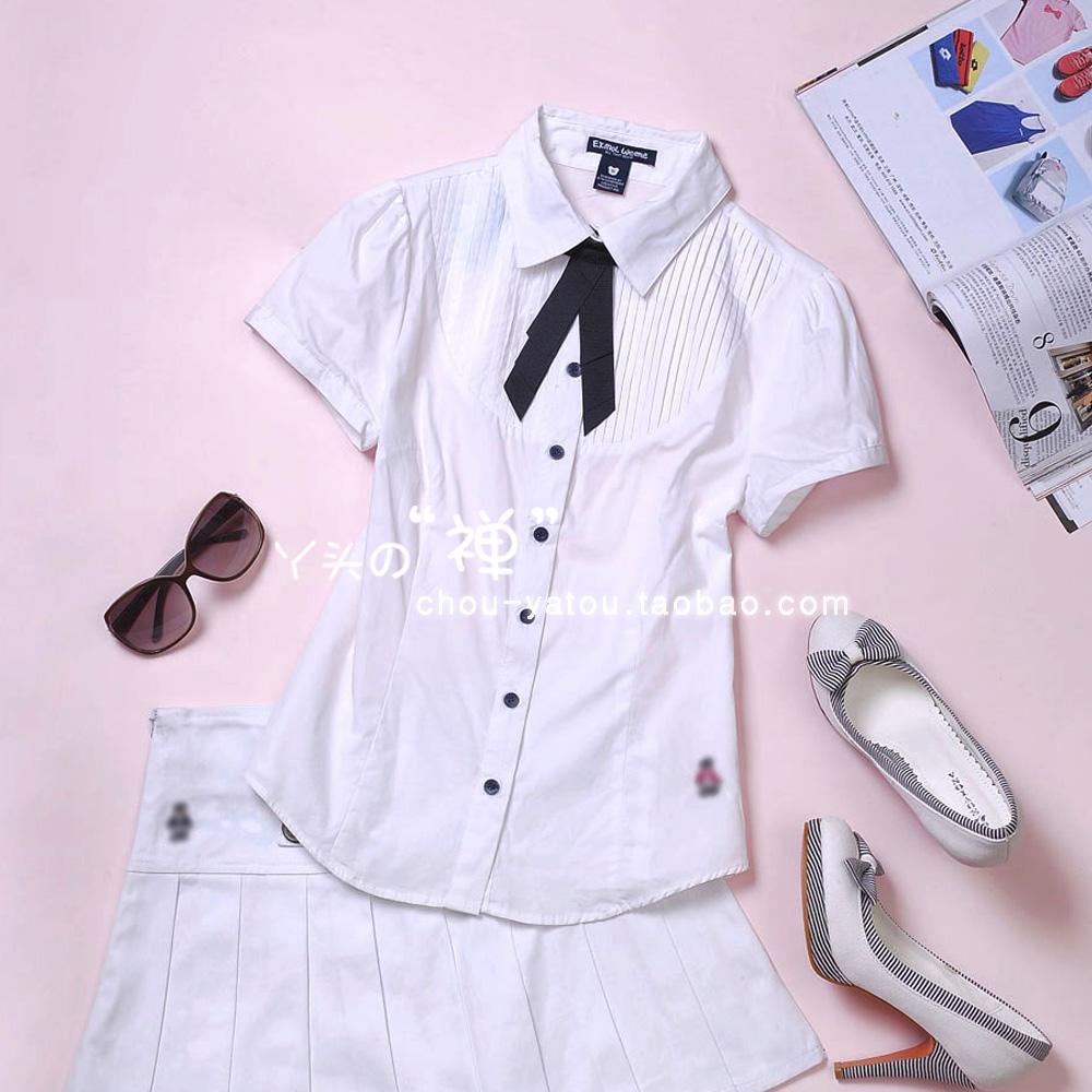 женская рубашка Отправить летом 2012 Новый галстук слоеного хлопка рукав с короткими рукавами рубашки женщин c38515-1 Повседневный Короткий рукав Однотонный цвет Бантик бабочкой