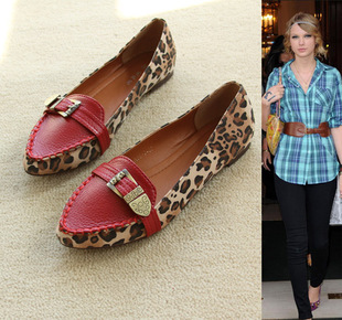 Fashion sexy Leopard-wild in Europe and mixed material pointed flat small danxie