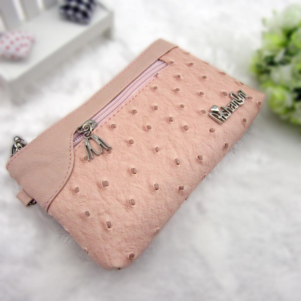 新款女包零钱包女手拿包手包小 短款鸵鸟纹包包手机包夏季迷你包