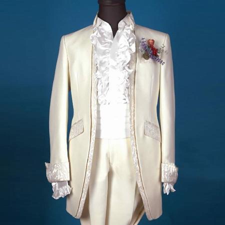 欧洲版宫廷男士礼服双领口宫廷装男主持人礼服舞台演出男装新郎装