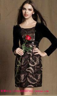 莉珊雅2014秋装印花图案高档丝绒长袖非雷迪尔连衣裙