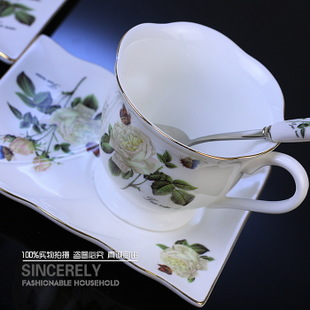 Modern home living Royal bone China square coffee cup of European-style elegance of Camellia