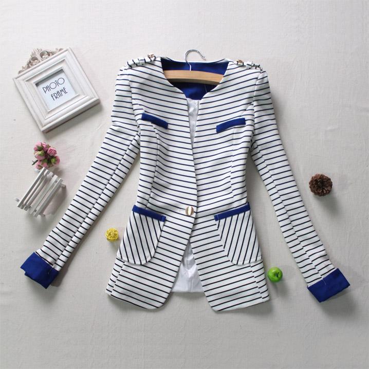 Блэйзер 2014 Весна новый небольшой слой корейской версии тонкие полосы костюм женщин с одной кнопки леди Досуг пиджак