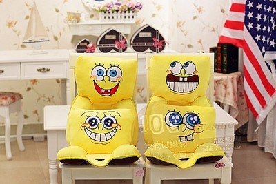 Cute SpongeBob office chair cushion pad thicker waist seatback cushion to send girls day gift