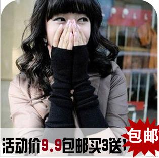 秋冬长款可爱针织露指半指手套