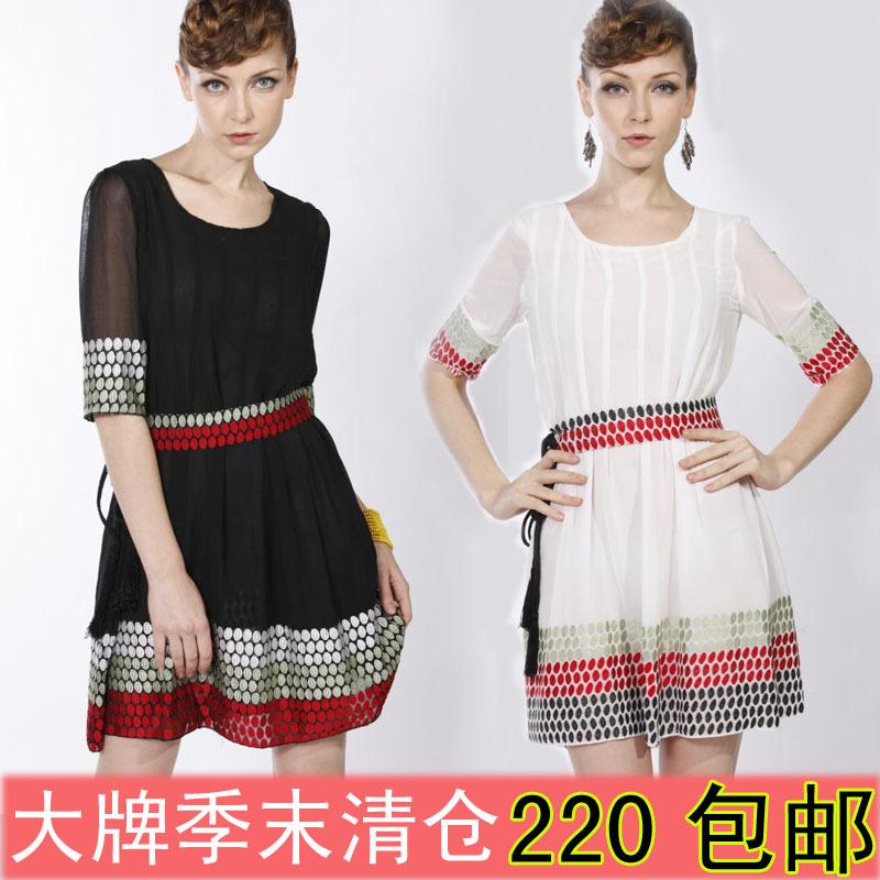 Женское платье 2012 Европейская большие дамы шифон платье с ручной вышивкой рукава Pack почты летом летняя распродажа