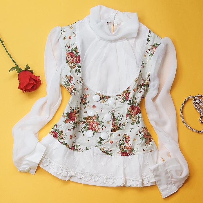 женская рубашка Korea c7337 Повседневный Длинный рукав Рисунок в цветочек Воротник-стойка