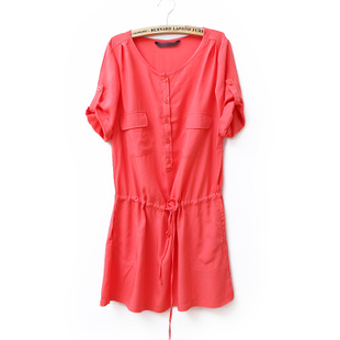 2012 Summer new Korean temperament XXL rope pulling in  sleeves with a relaxed, comfortable and solid color dress WC1126