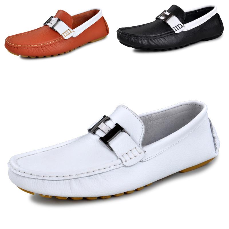 Демисезонные ботинки KALUOAO 5469 Для отдыха Верхний слой из натуральной кожи Квадратный носок Без шнуровки Лето