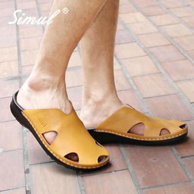 simul casual leather slippers for men and women of fashion lovers beach sandals and slippers genuine