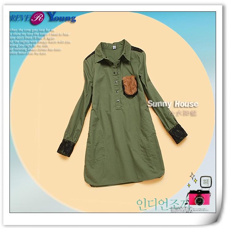 женская рубашка M4-4 Новая осень 2011 корейской версии нового кружева волосы свободные длинные лацканы длинные рукава рубашки Повседневный Длинный рукав