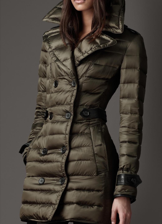 Женская утепленная куртка Burberry 38384071 London Облегающий покрой Длинный рукав