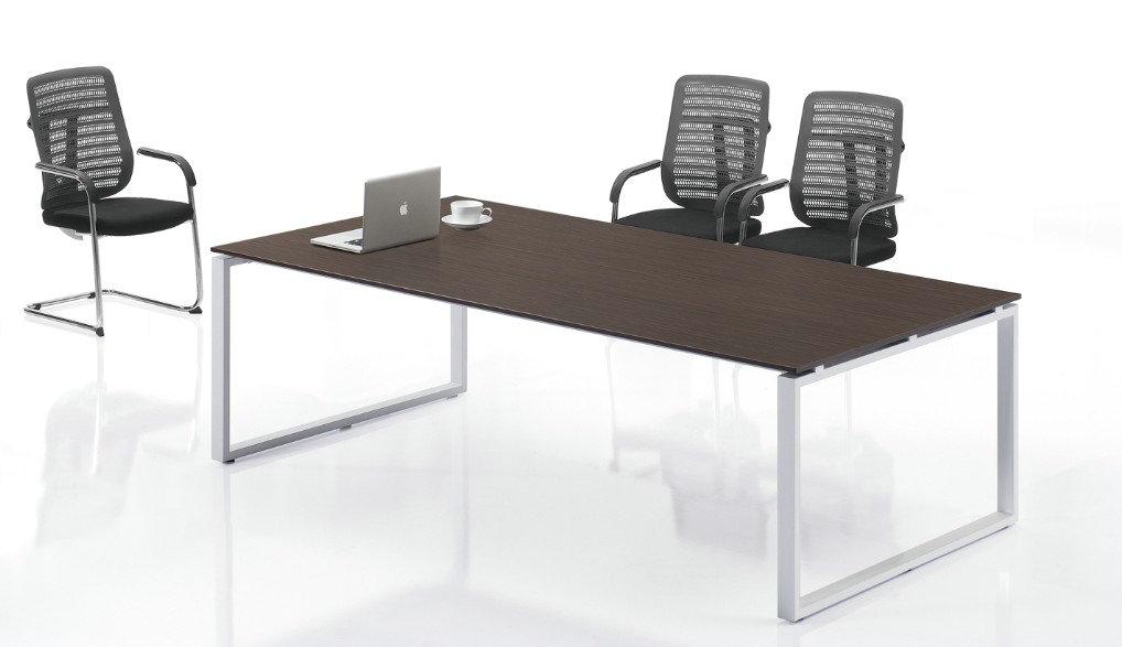 上海办公家具会议桌简约现代板式时尚小型长条钢架员工培训洽谈桌图片