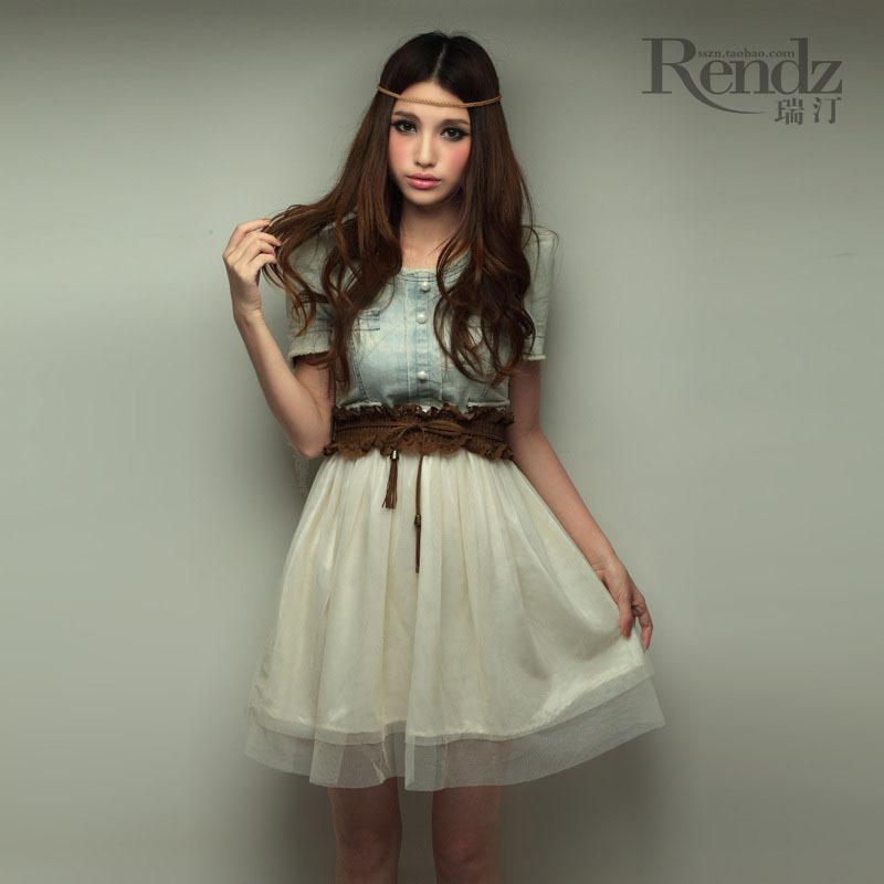 vivi 杂志款2011新款欧美复古风牛仔网纱拼接连衣裙送腰带2a8018