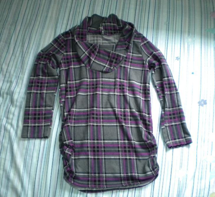 Толстовка женская Весна 2010 нерегулярных коллекция Neckwear плед футболки длинный рукав t Подол, видео