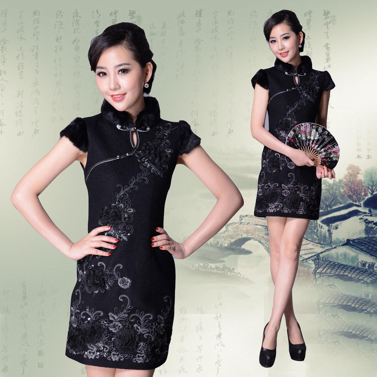 旗袍 冬 高档黑色刺绣旗袍裙 毛呢绣花晚宴礼服 中式改良时尚日常