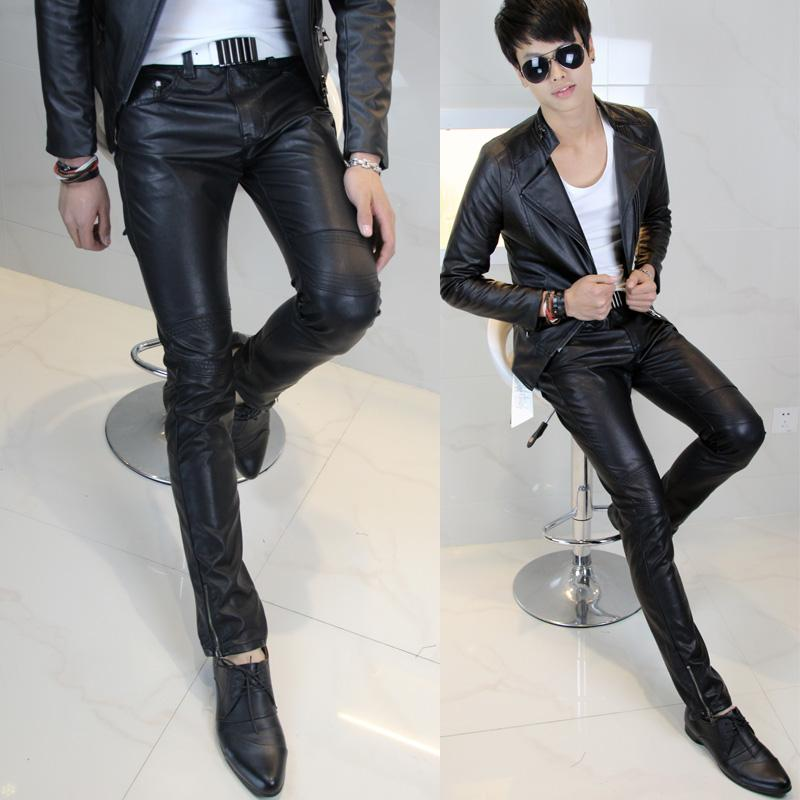 12 new explosive men's pants, tight pants, male Korean slim foot leather pants sportsman pants men