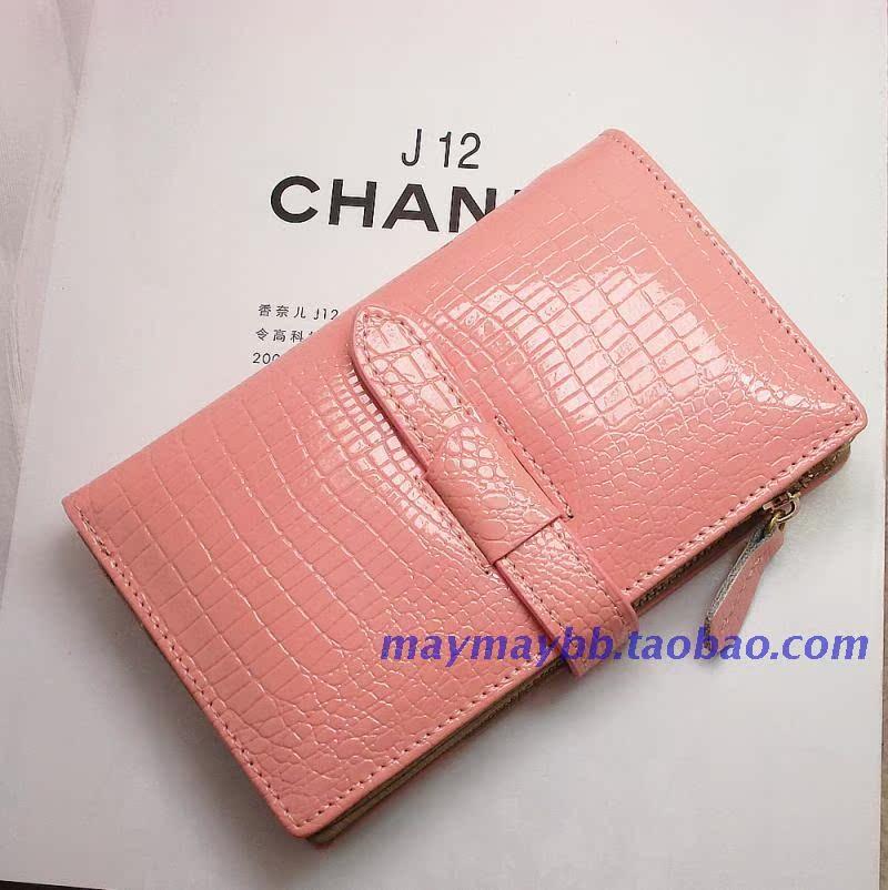 Бумажник Набор содержит сокровище новых почтовых крокодил шаблон долго в корейской версии контраст цвета кожа кожа кожаный бумажник женщин Длинный бумажник Жен. Кожа быка