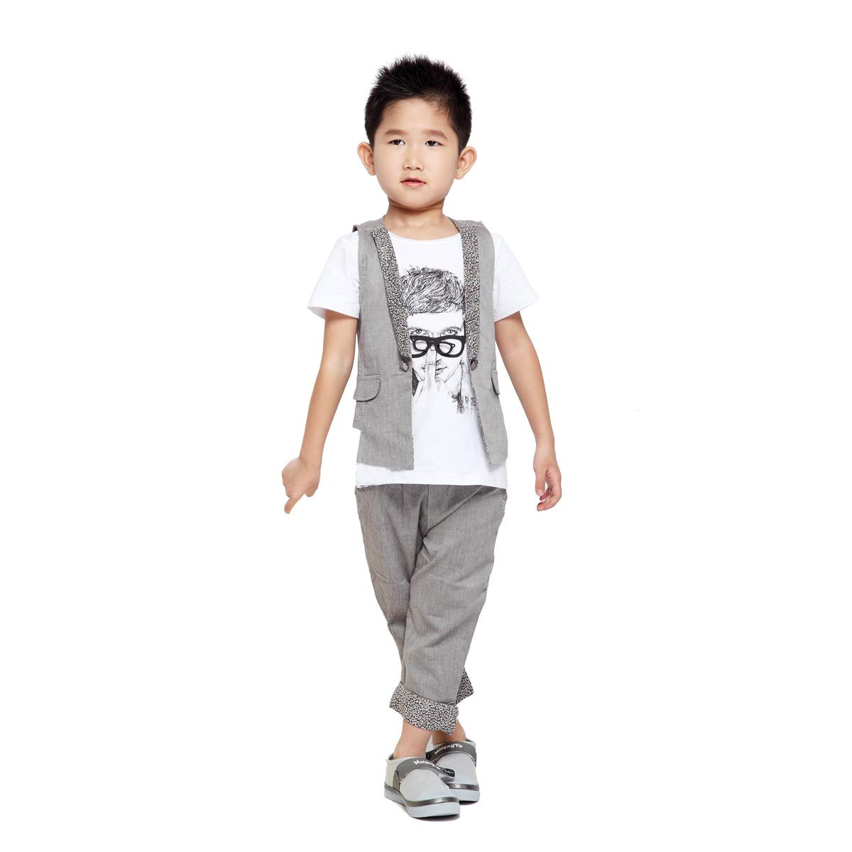 集分宝 夏季新款韩版套装 男童绅士王子花童马甲/礼服 韩版套装