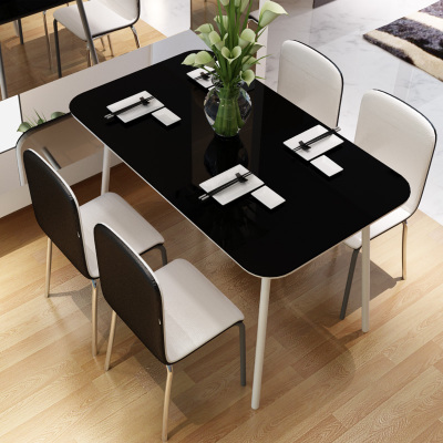 United States because the United States easily dinette combination of black and white minimalist modern glass table four chairs six chairs table dinner sets