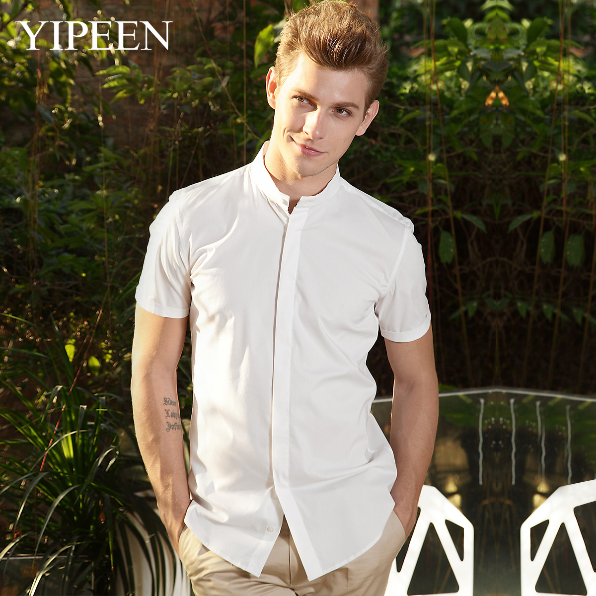 YIPEEN man shirt Summer 2014 new men's short sleeve collar white shirt