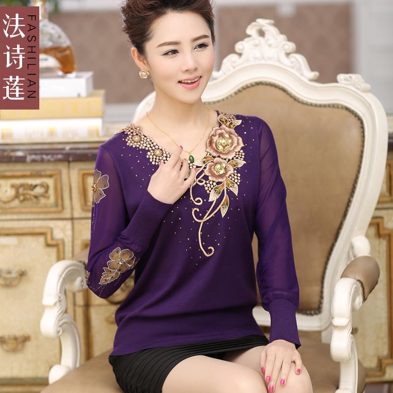 法诗莲2014中老年女装春新款妈妈长袖T恤大码蕾丝雪纺中年针织衫